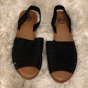 Brown and black sandals size 8